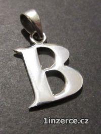 Písmeno B - přívěsek ze stříbr