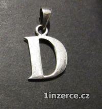 Písmeno D - přívěsek ze stříbr