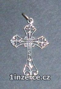 Kříž zdobený - stříbrný přívěs