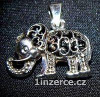 Velký zdobný slon - stříbrný p
