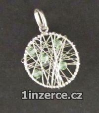 Opletený kruh - zelený - stříb