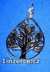 Strom v kapce - stříbrný přívě